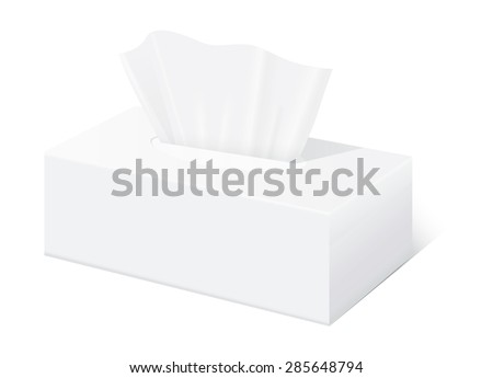 White Tissue box blank label and no text for mock up packaging  - stock vector