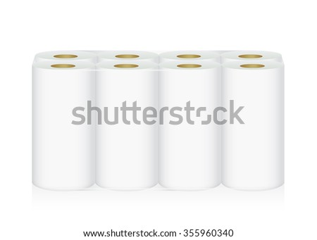 White Tissue Paper includes 8 roll in pack blank label and no text for mock up packaging - stock vector