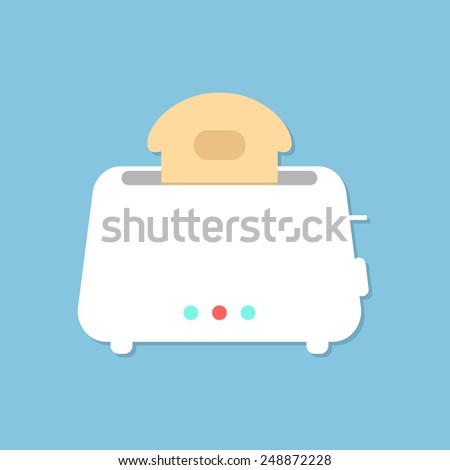 white toaster with shadow isolated on blue background. concept of beginning of the day, luncheon and homeliness. flat style trendy modern design vector illustration - stock vector