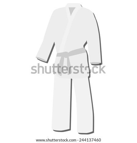 White training kimono with grey belt karate sport vector isolated - stock vector