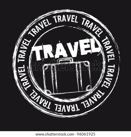 white travel stamp isolated over black background. vector - stock vector
