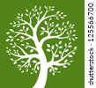 White Tree icon on green background, vector logo - stock photo