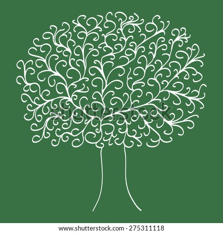 White tree on a green background - stock vector