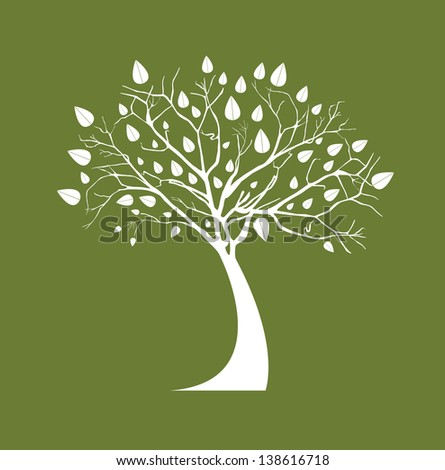 White tree over olive  background vector illustration - stock vector