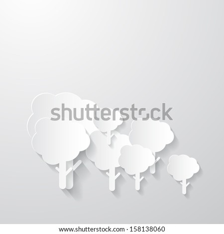 White Trees Cut From Paper on Grey Background - stock vector