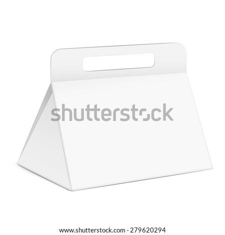 white triangle box with handle isolated on white background - stock vector