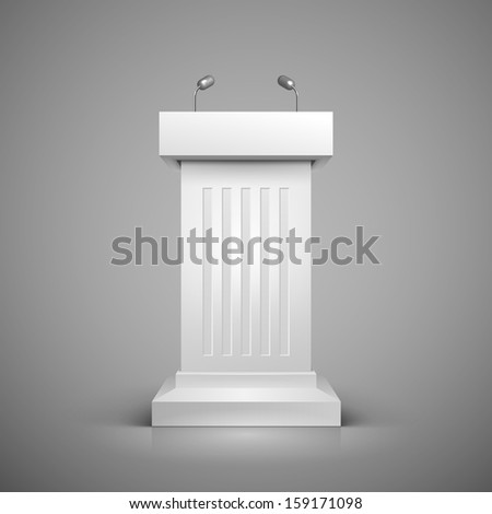 White tribune with microphone template vector illustration - stock vector