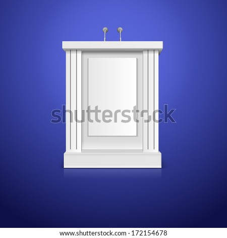 White tribune with microphone vector illustration - stock vector