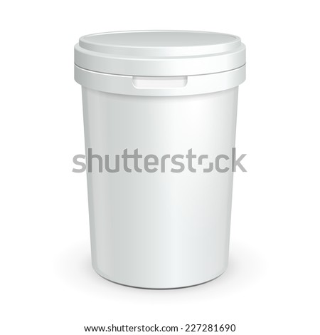 White Tub Food Plastic Container For Dessert, Yogurt, Ice Cream, Sour Cream Or Snack. Ready For Your Design. Product Packing Vector EPS10  - stock vector