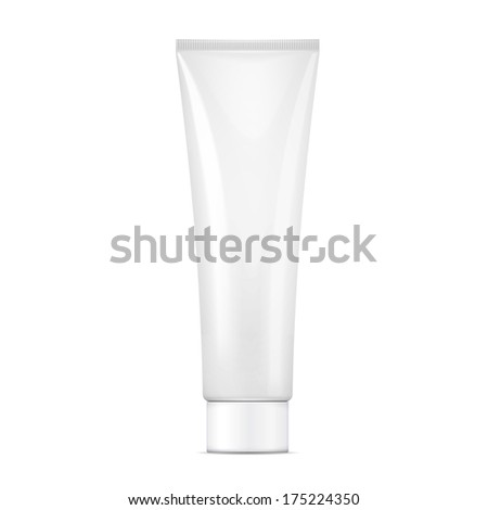 White tube mock-up for cream, tooth paste, gel, sauce, paint, glue. Packaging collection. Vector illustration.
