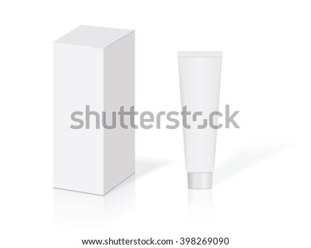 White tube on a white background for your design toothpaste, gel, cream, shampoo eps10 vector mock up - stock vector