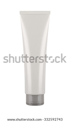 White tube. Product mock up isolated on white background. Blank packaging for cosmetic products like cream or lotion, as well as tooth paste, hair gel, acrylic paint, sauce and more.