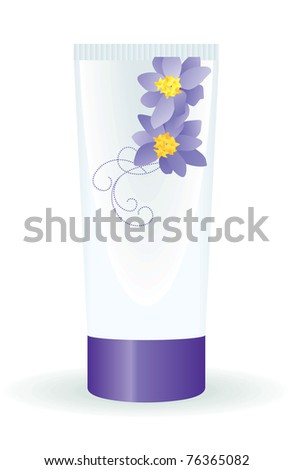 white tube with floral decor - stock vector