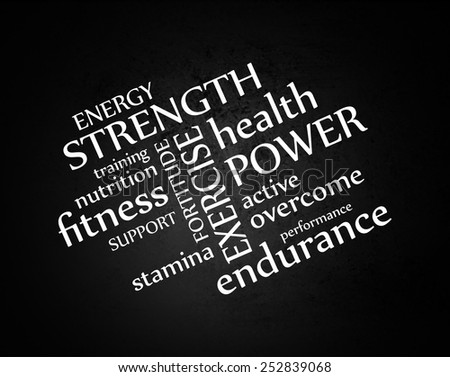 white typography on black grunge background or chalkboard vector, words about health exercise nutrition and fitness gym training in abstract artistic layout - stock vector