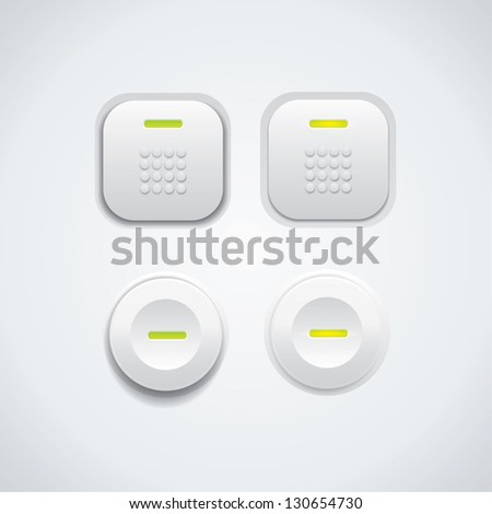 White UI buttons with green led - stock vector
