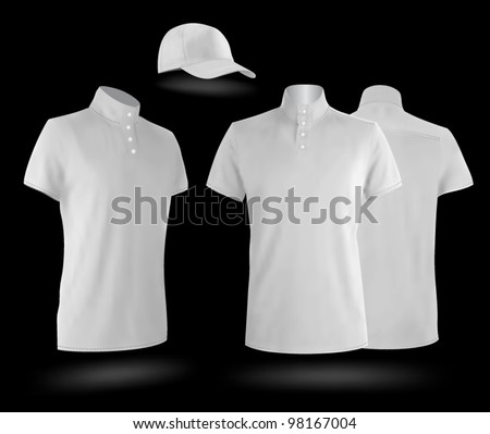 White uniform template: polo shirts and baseball cap. - stock vector