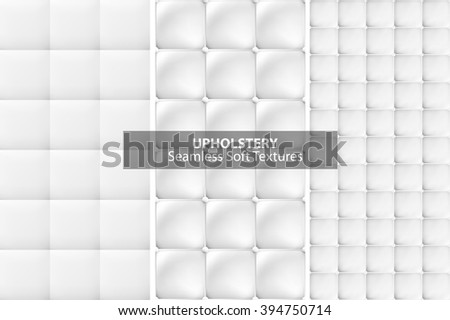 White upholstery textures. Seamless vector collection. - stock vector