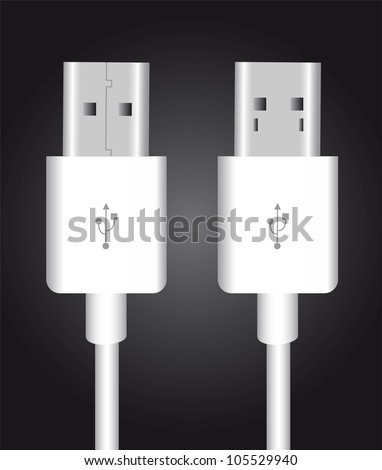 white usb over black background. vector illustration