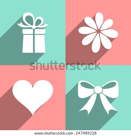 White valentine icons on colorful squares long shadow - stock vector