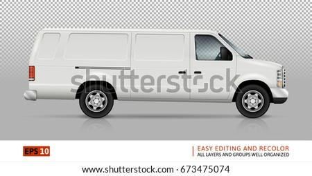 White van vector template for car branding and advertising. Isolated truck on transparent background. All layers and groups well organized for easy editing and recolor. View from right side.