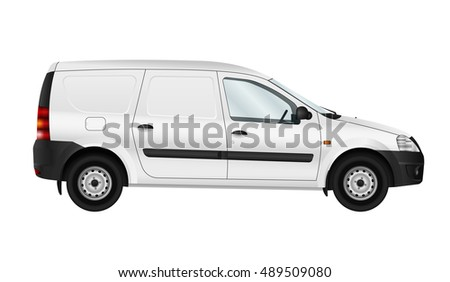 White vector car isolated template. Blank cargo delivery minivan. Side view, see more versions in my portfolio