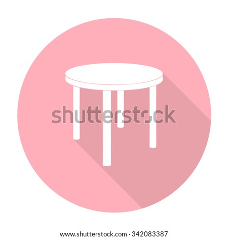 White vector chair on color circle background.