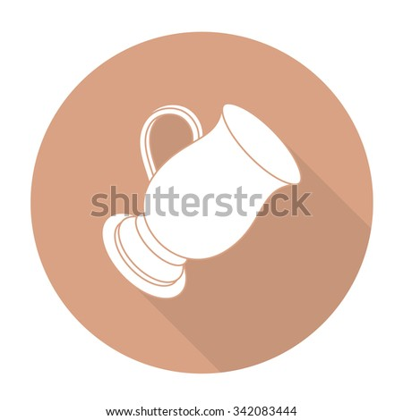 White vector coffee cup on color circle background. - stock vector