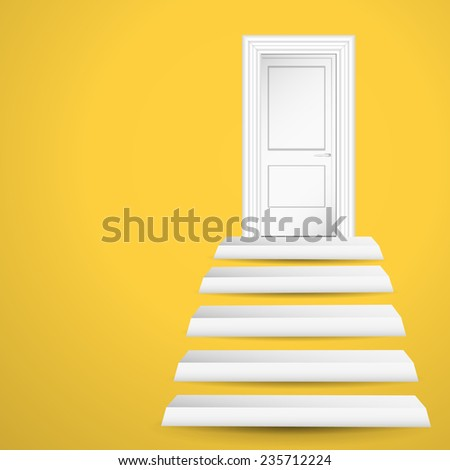 White vector door and stairs on yellow background