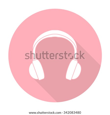 White vector earphone on color circle background. - stock vector