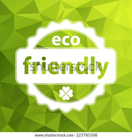 white vector eco friendly stamp with four leaf clover on green triangular background - stock vector