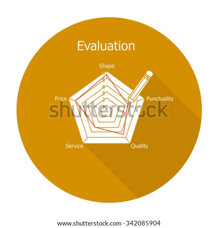 White vector evaluation on color circle background. - stock vector