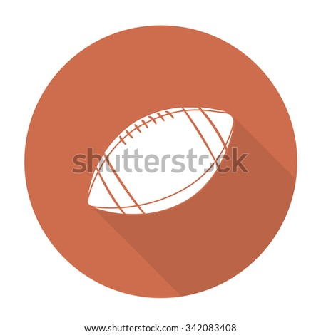 White vector football on color circle background. - stock vector