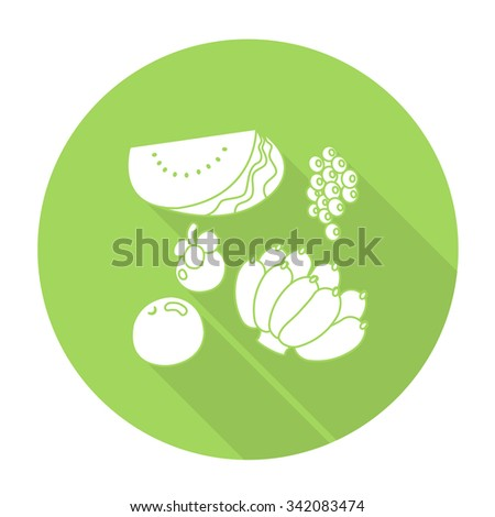 White vector fruit on color circle background. - stock vector