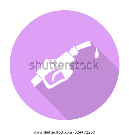 White vector Fuel dispenser nozzle on color circle background. - stock vector