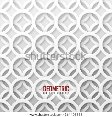 White vector geometric background  - stock vector