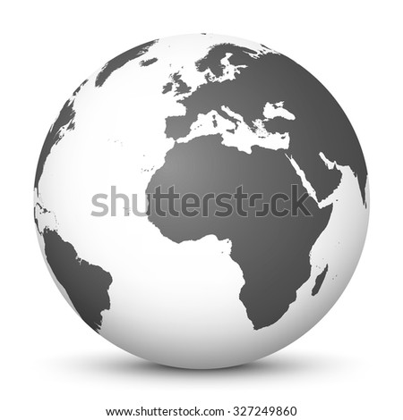 White Vector Globe Icon with Gray Continents - Planet Earth - World Symbol on White Background with Smooth Shadow. - stock vector