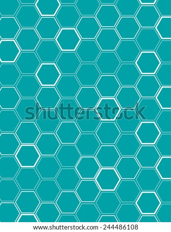 White vector honeycomb pattern over blue background - stock vector