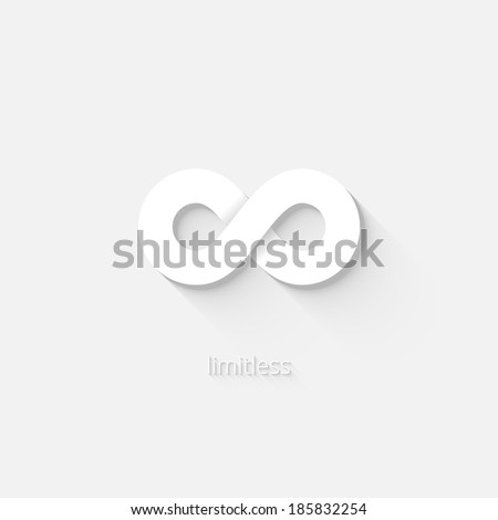 White vector infinity icon  or logo depicting the state of being limitless or unbounded by space  time or quantity - stock vector