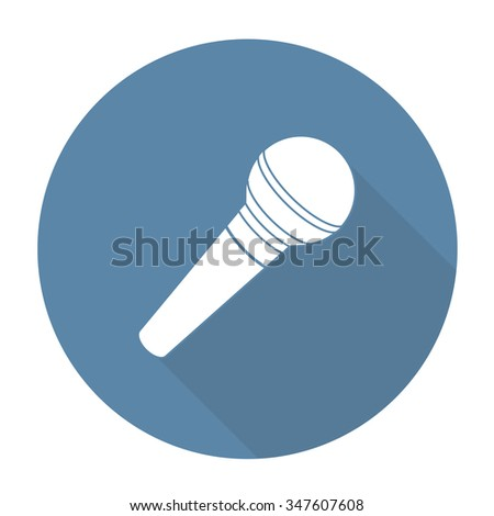 White vector microphone on color circle background. - stock vector