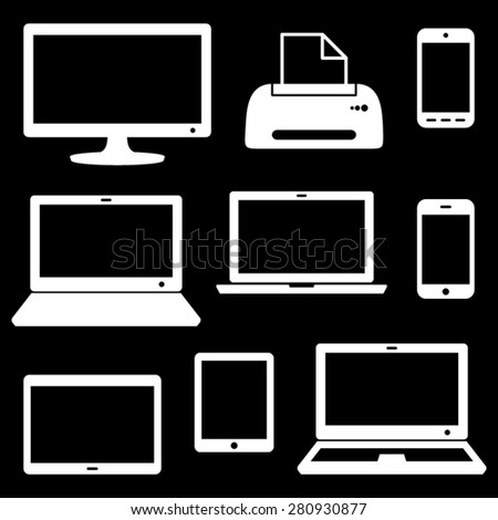 White vector modern digital device icons on black