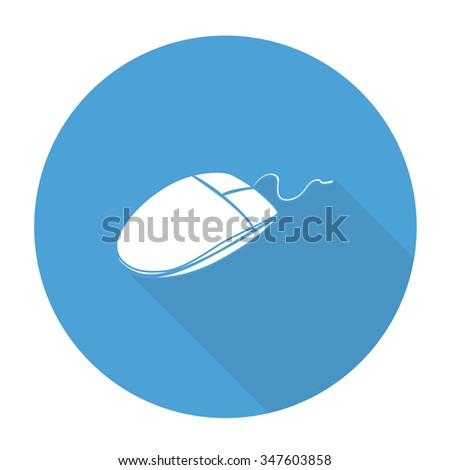White vector mouse on color circle background. - stock vector