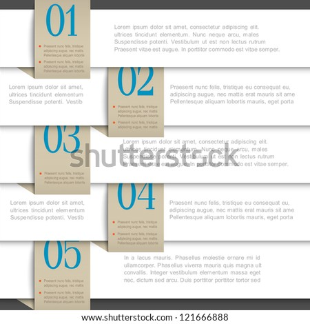 White vector paper numbered banners. Creative design template - stock vector