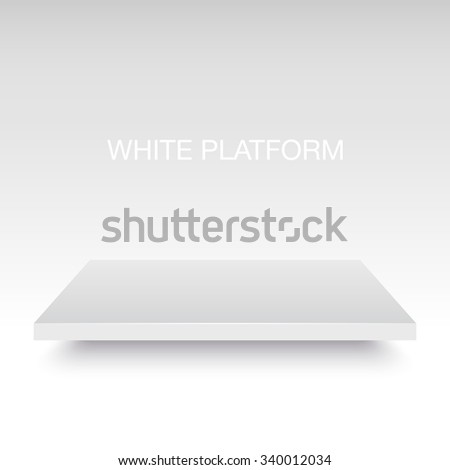 White vector platform stand. Realistic template for your design. - stock vector