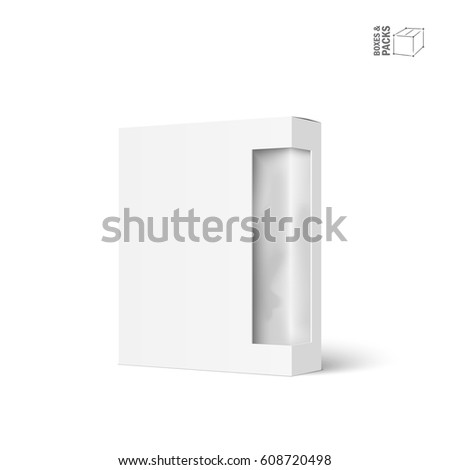 White vector product package box with window. Isolated on white background. With marked place to insert your design