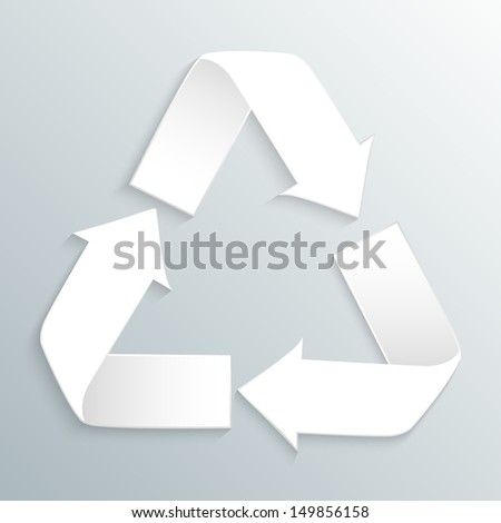 White vector recycle logo on gray background - stock vector
