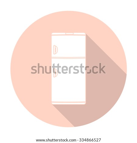 White vector refrigerator on color circle background.