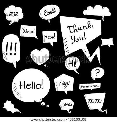 White vector set of talk and think bubbles, group of doodle speech bubles - stock vector