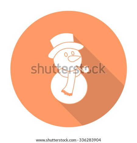 White vector snow man on color circle background. - stock vector
