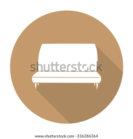 White vector sofa tool on color circle background. - stock vector