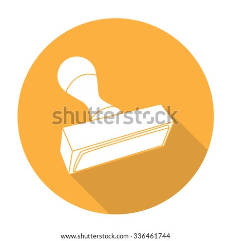 White vector stamp tool on color circle background. - stock vector